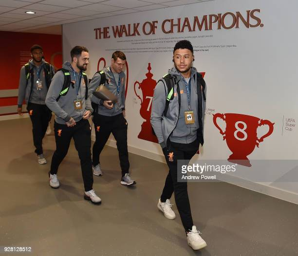 Alex OxladeChamberlain Danny Ings James Milner and Joe Gomez of Liverpool arrives before the UEFA Champions League Round of 16 Second Leg match...