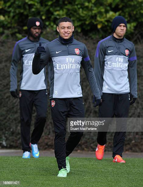 Alex Oxlade-Chamberlain of Arsenal before a training session at London Colney on April 05, 2013 in St Albans, England.