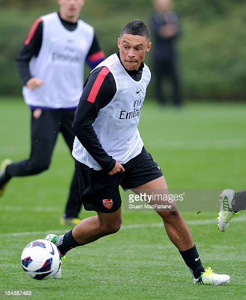 Alex Oxlade-Chamberlain of Arsenal during a training session at London Colney on October 19, 2012 in St Albans, England.