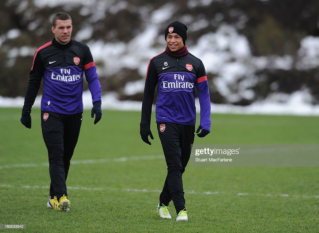 Alex Oxlade-Chamberlain of Arsenal during a training session at London Colney on January 25, 2013 in St Albans, England.
