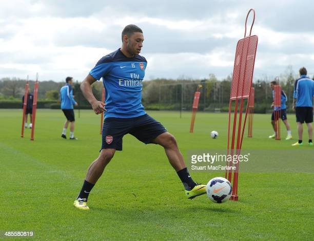 Alex OxladeChamberlain of Arsenal during a training session at London Colney on April 19 2014 in St Albans England