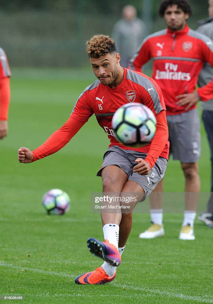 Alex Oxlade-Chamberlain of Arsenal during a training session at London Colney on October 21, 2016 in St Albans, England.