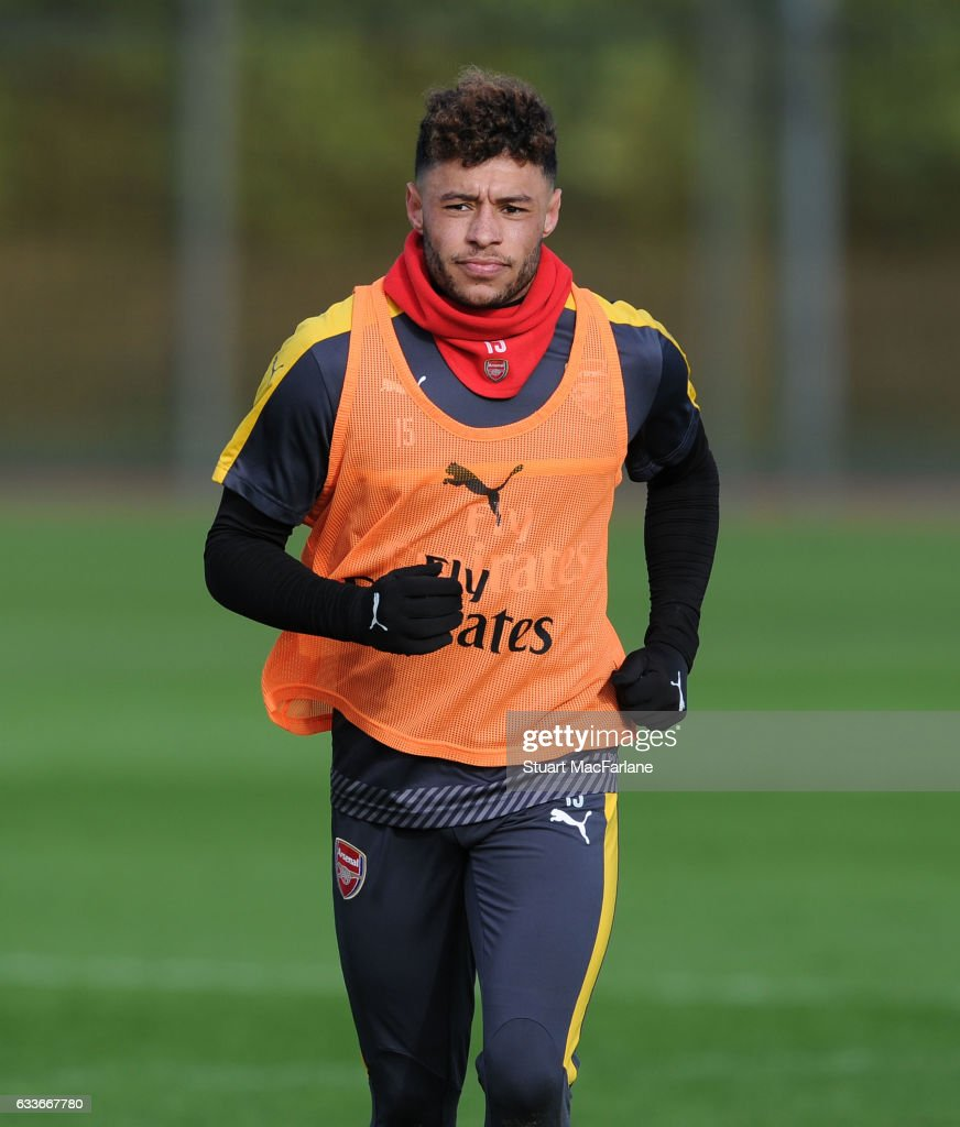 Alex Oxlade-Chamberlain of Arsenal during a training session at London Colney on February 3, 2017 in St Albans, England.