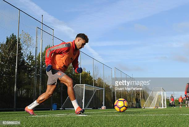 Alex OxladeChamberlain of Arsenal during a training session in preparation for the Premier League match against AFC Bournemouth at London Colney on...