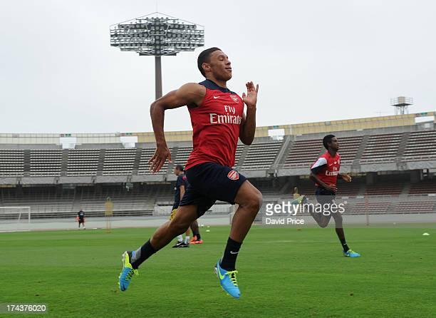 Alex OxladeChamberlain of Arsenal FC in Japan for the club's preseason Asian tour at the Urawa Komaba Stadium on July 25 2013 in Saitama Japan