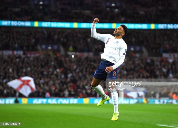 Alex Oxlade-Chamberlain of England celebrates after scoring his sides first goal during the UEFA Euro 2020 qualifier between England and Montenegro...