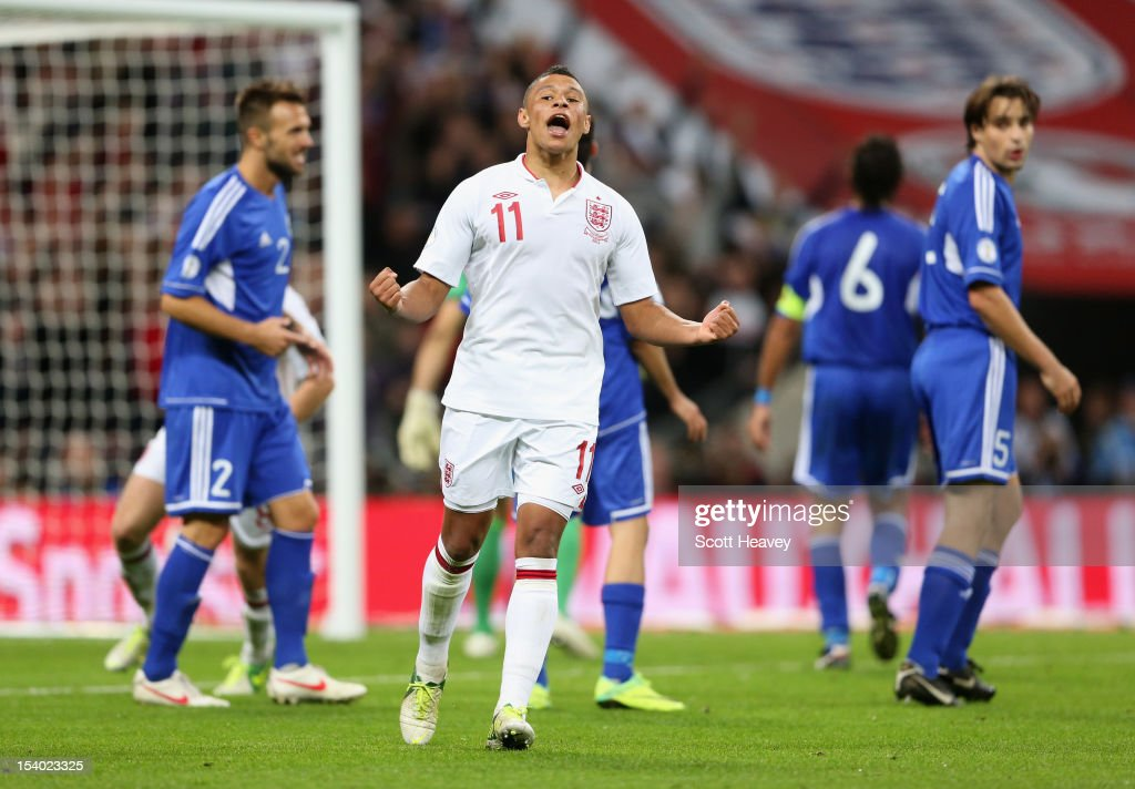 Alex Oxlade-Chamberlain of England celebrates after scoring his team's fifith goal during the FIFA 2014 World Cup Group H qualifying match between England and San Marino at Wembley Stadium on October 12, 2012 in London, England.