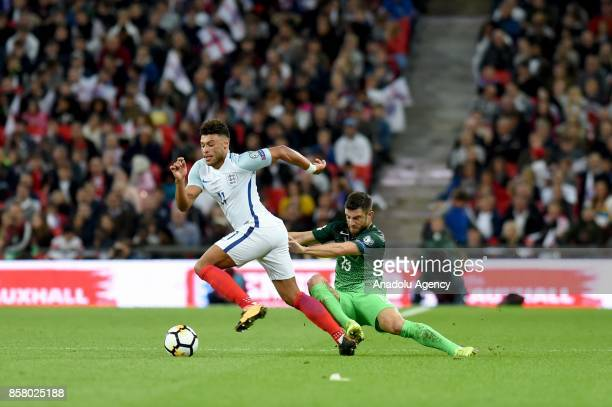 Alex OxladeChamberlain of England in action against Aljaz Struna of Slovenia during the 2018 FIFA World Cup European Qualification football match...