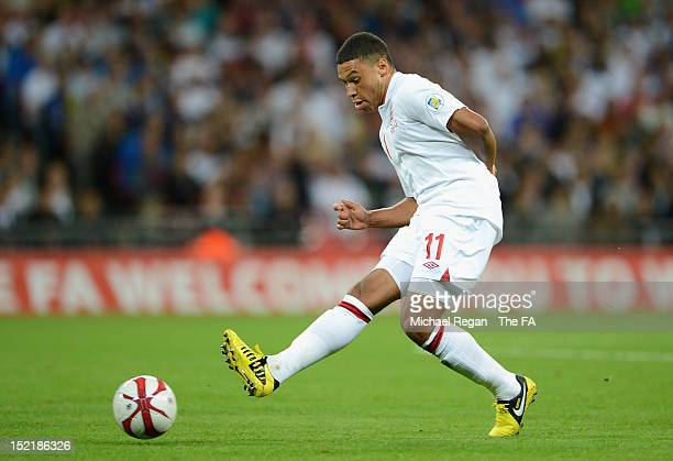 Alex Oxlade-Chamberlain of England in action during the FIFA 2014 World Cup qualifier group H match between England and Ukraine at Wembley Stadium on...