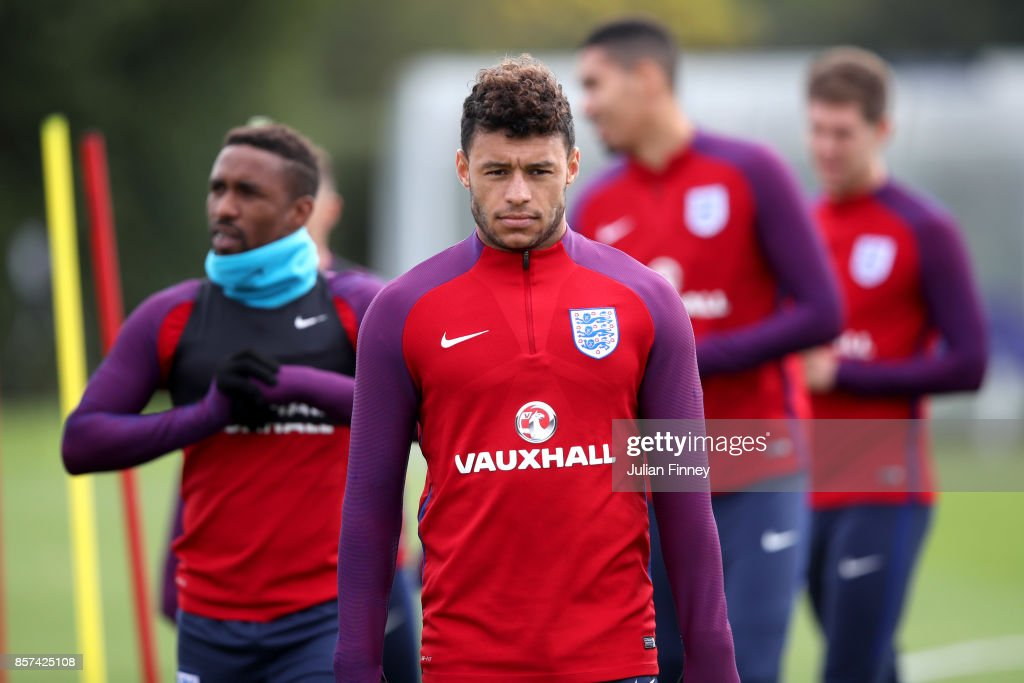 Alex Oxlade-Chamberlain of England looks on during a England Training Session at the Tottenham Hotspur training ground on October 4, 2017 in Enfield, England.