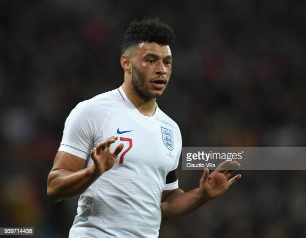 Alex OxladeChamberlain of England reacts during the International Friendly match between England and Italy at Wembley Stadium on March 27 2018 in...