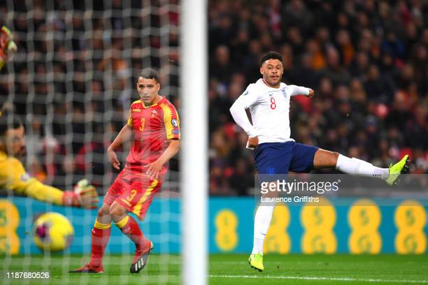 Alex Oxlade-Chamberlain of England scores his sides first goal during the UEFA Euro 2020 qualifier between England and Montenegro at Wembley Stadium...