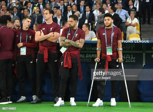 Alex OxladeChamberlain of Liverpool and Danny Ings of Liverpool look on prior to the UEFA Champions League Final between Real Madrid and Liverpool at...