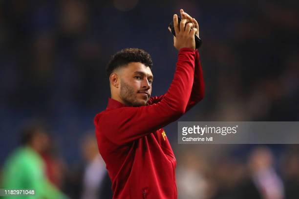 Alex Oxlade-Chamberlain of Liverpool applauds fans after the UEFA Champions League group E match between KRC Genk and Liverpool FC at Luminus Arena...