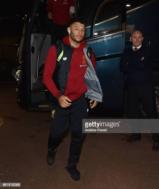 Alex OxladeChamberlain of Liverpool arrives before the Premier League match between Stoke City and Liverpool at Bet365 Stadium on November 29 2017 in...