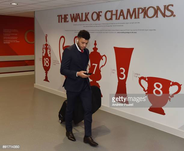 Alex OxladeChamberlain of Liverpool arrives before the Premier League match between Liverpool and West Bromwich Albion at Anfield on December 13 2017...