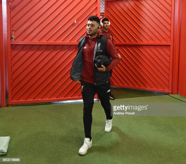Alex OxladeChamberlain of Liverpool arrives before the Premier League match between Manchester United and Liverpool at Old Trafford on March 10 2018...