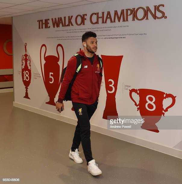 Alex OxladeChamberlain of Liverpool arrives before the Premier League match between Liverpool and Watford at Anfield on March 17 2018 in Liverpool...
