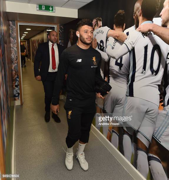 Alex OxladeChamberlain of Liverpool arrives before the Premier League match between West Bromwich Albion and Liverpool at The Hawthorns on April 21...