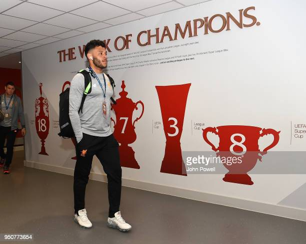 Alex OxladeChamberlain of Liverpool arrives before the UEFA Champions League Semi Final First Leg match between Liverpool and AS Roma at Anfield on...