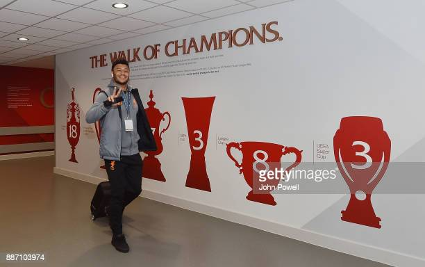 Alex OxladeChamberlain of Liverpool arrives for the UEFA Champions League group E match between Liverpool FC and Spartak Moskva at Anfield on...