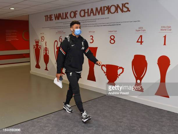 Alex Oxlade-Chamberlain of Liverpool arriving before the Premier League match between Liverpool and Manchester City at Anfield on October 03, 2021 in...