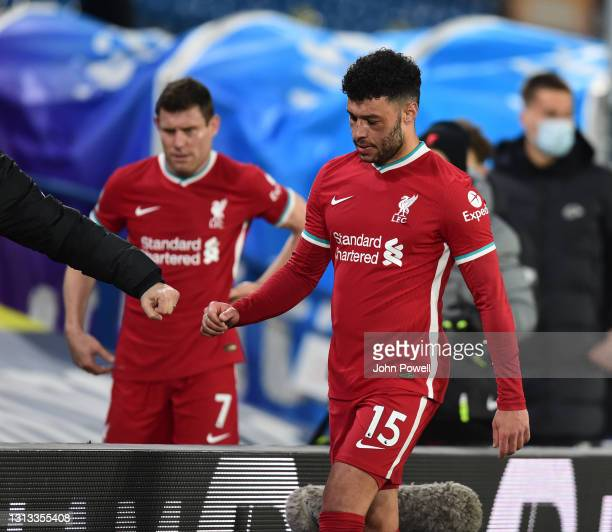 Alex Oxlade-Chamberlain of Liverpool at the end of the Premier League match between Leeds United and Liverpool at Elland Road on April 19, 2021 in...