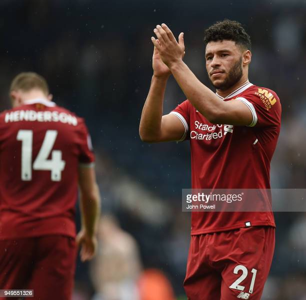 Alex OxladeChamberlain of Liverpool at the end of the Premier League match between West Bromwich Albion and Liverpool at The Hawthorns on April 21...