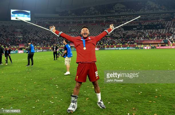 Alex OxladeChamberlain of Liverpool at the end of the the FIFA Club World Cup final match between Liverpool FC and CR Flamengo at Khalifa...