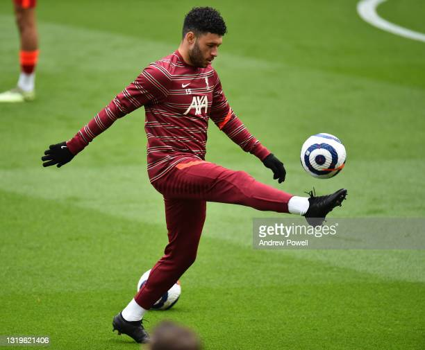 Alex Oxlade-Chamberlain of Liverpool before the Premier League match between Liverpool and Crystal Palace at Anfield on May 23, 2021 in Liverpool,...