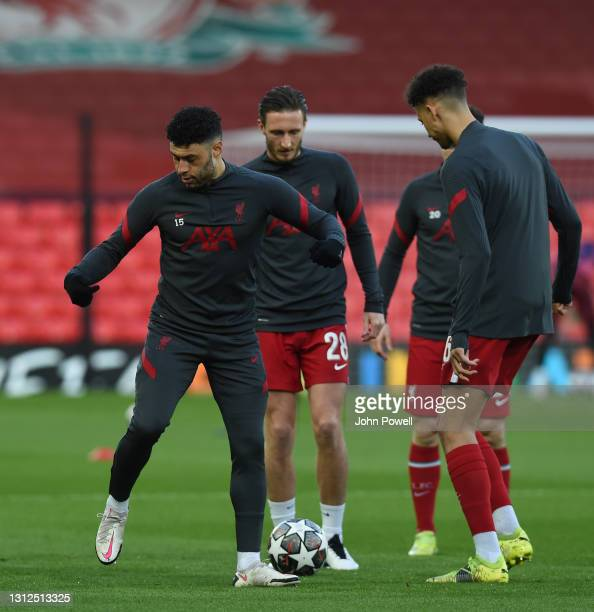Alex Oxlade-Chamberlain of Liverpool before the UEFA Champions League Quarter Final Second Leg match between Liverpool FC and Real Madrid at Anfield...