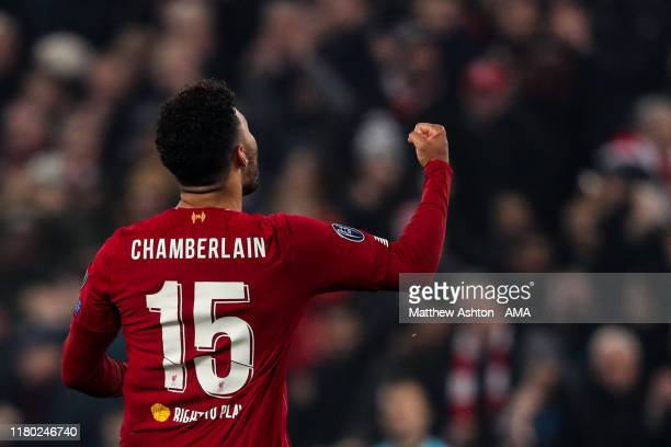 Alex OxladeChamberlain of Liverpool celebrates after scoring a goal to make it 21 during the UEFA Champions League group E match between Liverpool FC...