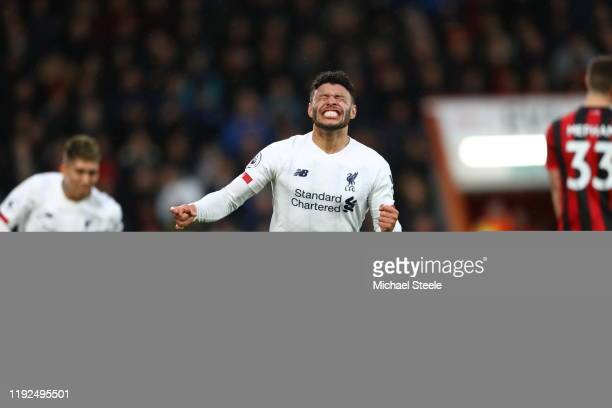 Alex Oxlade-Chamberlain of Liverpool celebrates after scoring his team's first goal during the Premier League match between AFC Bournemouth and...