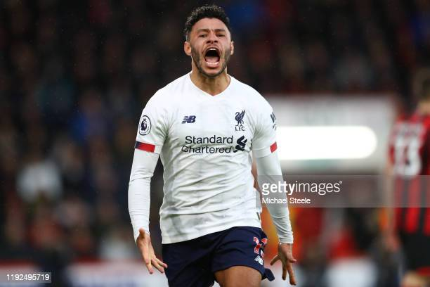 Alex OxladeChamberlain of Liverpool celebrates after scoring his team's first goal during the Premier League match between AFC Bournemouth and...