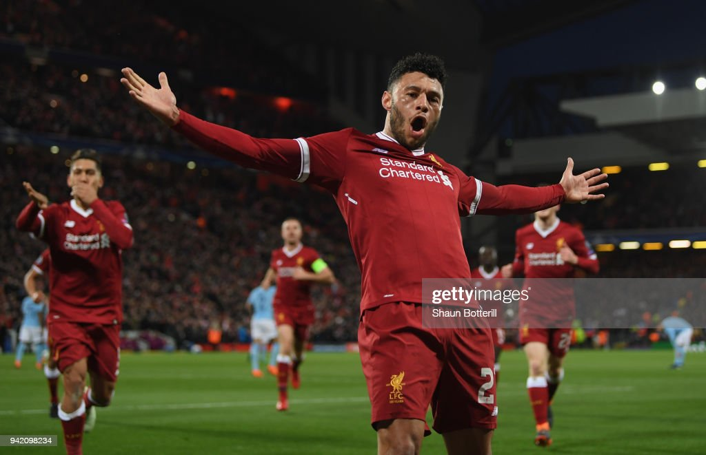 Alex Oxlade-Chamberlain of Liverpool celebrates after scoring his sides second goal during the UEFA Champions League Quarter Final Leg One match between Liverpool and Manchester City at Anfield on April 4, 2018 in Liverpool, England.