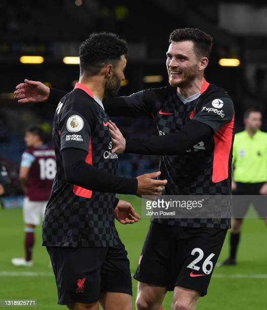 Alex Oxlade-Chamberlain of Liverpool celebrates after scoring the third goal during the Premier League match between Burnley and Liverpool at Turf...