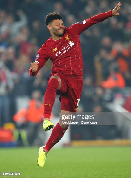 Alex Oxlade-Chamberlain of Liverpool celebrates after scoring their second goal during the UEFA Champions League group E match between Liverpool FC...