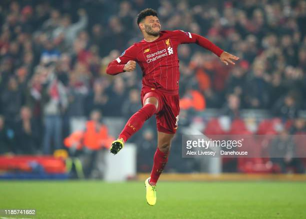Alex OxladeChamberlain of Liverpool celebrates after scoring their second goal during the UEFA Champions League group E match between Liverpool FC...