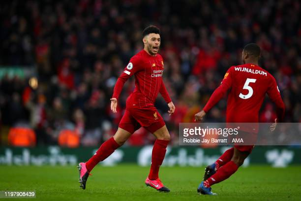 Alex Oxlade-Chamberlain of Liverpool Celebrates scoring a goal to make it 1-0 during the Premier League match between Liverpool FC and Southampton FC...