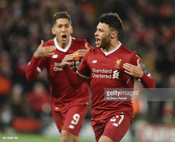 Alex OxladeChamberlain of Liverpool Celebrates the second goal during the UEFA Champions League Quarter Final Leg One match between Liverpool and...