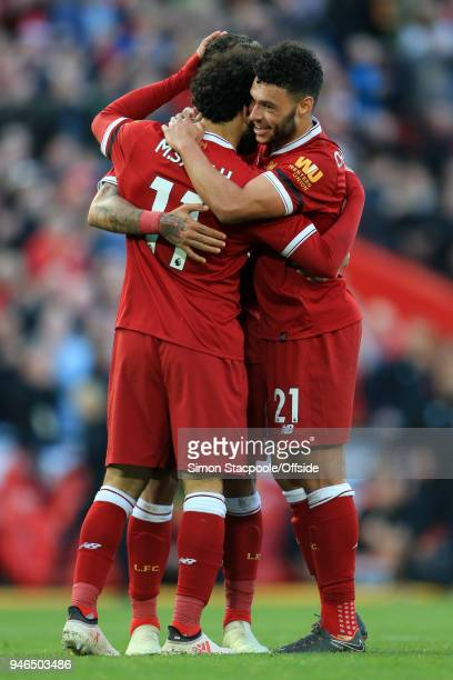 Alex OxladeChamberlain of Liverpool celebrates their 2nd goal during the Premier League match between Liverpool and AFC Bournemouth at Anfield on...