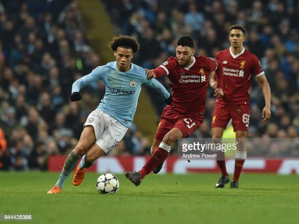 Alex OxladeChamberlain of Liverpool competes with Leroy Sane of Manchester City during the UEFA Champions League Quarter Final Second Leg match...