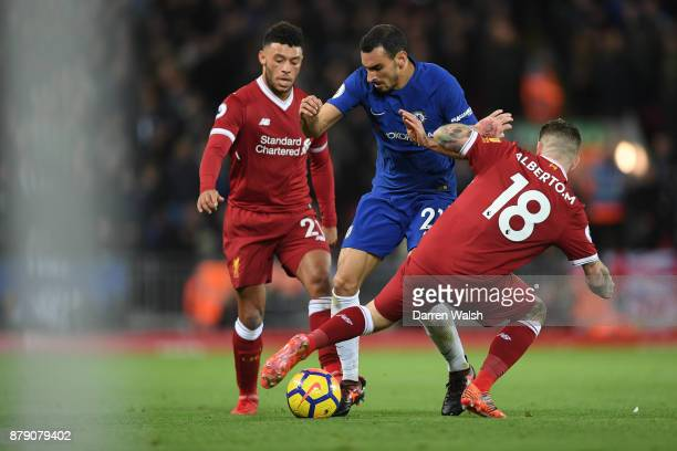 Alex OxladeChamberlain of Liverpool Davide Zappacosta of Chelsea and Alberto Moreno of Liverpool battle for possession during the Premier League...