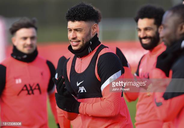 Alex Oxlade-Chamberlain of Liverpool during a training session at AXA Training Centre on April 13, 2021 in Kirkby, England.