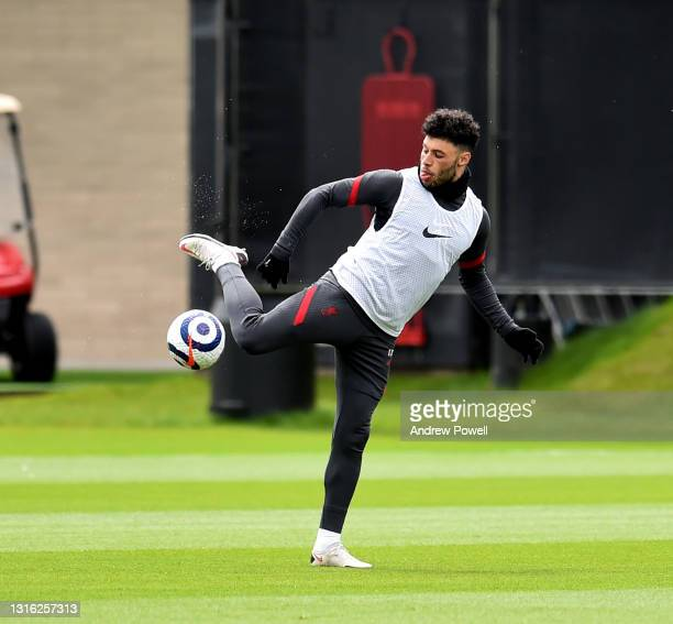 Alex Oxlade-Chamberlain of Liverpool during a training session at AXA Training Centre on May 04, 2021 in Kirkby, England.