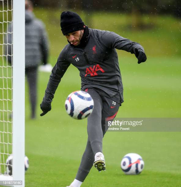 Alex Oxlade-Chamberlain of Liverpool during a training session at AXA Training Centre on May 21, 2021 in Kirkby, England.