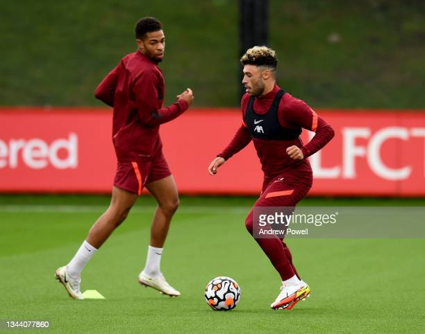 Alex Oxlade-Chamberlain of Liverpool during a training session at AXA Training Centre on September 30, 2021 in Kirkby, England.