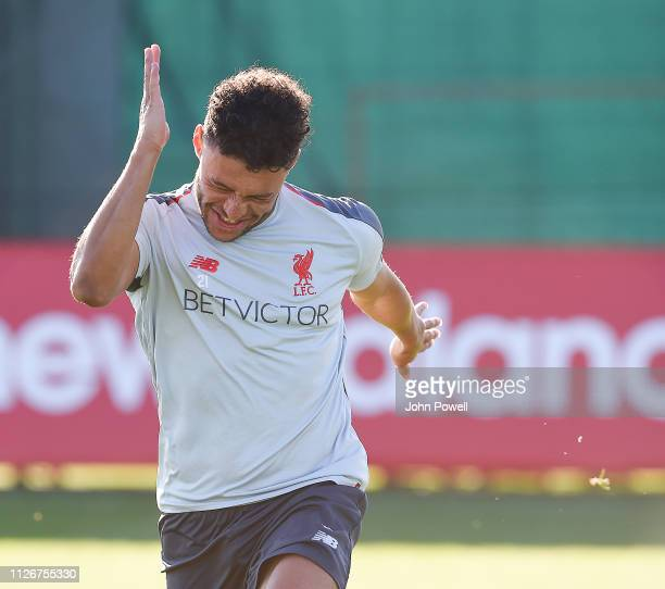 Alex OxladeChamberlain of Liverpool during a training session at Melwood on February 22 2019 in Liverpool England