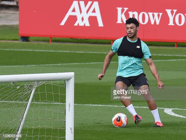Alex OxladeChamberlain of Liverpool during a training session at Melwood Training Ground on May 21 2020 in Liverpool England