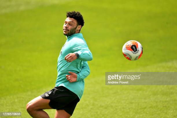 Alex OxladeChamberlain of Liverpool during a training session at Melwood Training Ground on May 23 2020 in Liverpool England